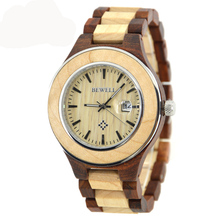 BEWELL Luxury Brand Wood Watch Men Analog Calendar Display Watches with Fashion Waterproof Quartz Mael Wristwatch 100AG цена