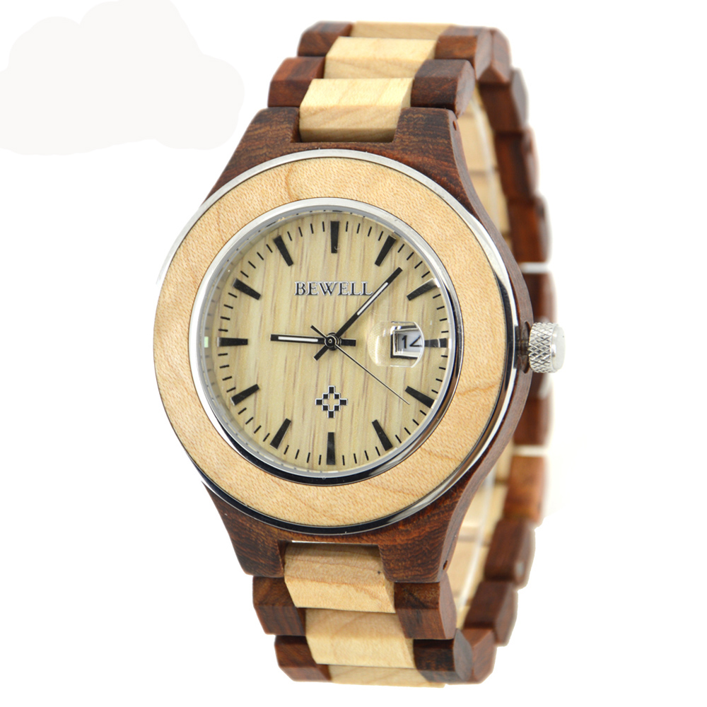 BEWELL Luxury Brand Wood Watch Men Analog Calendar Display Watches with Fashion Waterproof Quartz Mael Wristwatch 100AG