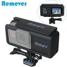 Bateria externa com caixa de câmera, bateria de 2300mah com moldura para gopro hero 5/6/7 tipo c preto para telefones celulares