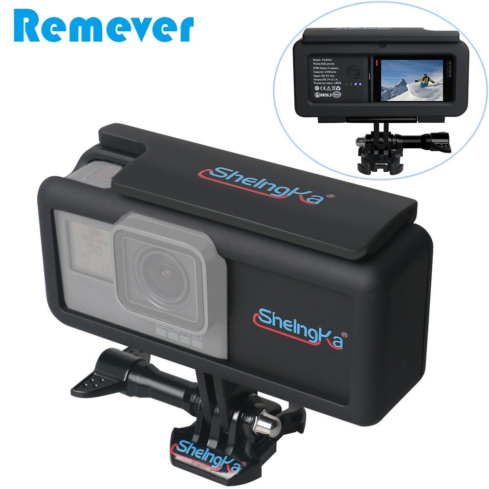 Nouveau 2300 mah Externe Batterie Avec Camera Case Côté Powerbank avec Cadre pour GoPro Hero 5/6/7 noir Type-C pour Mobile Téléphones
