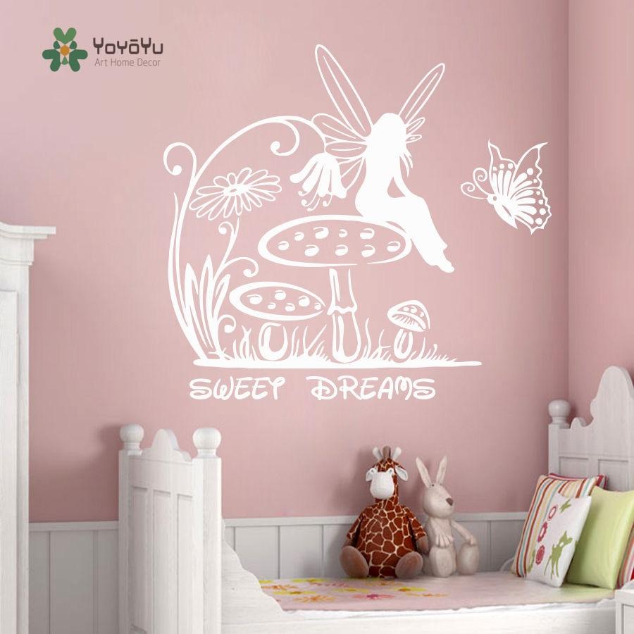 YOYOYU Wall Decal Vinyl Wall Sticker Fairy Wall Decals Princess Sweet Dreams Nursery Home Decoration YO186 in Wall Stickers from Home Garden