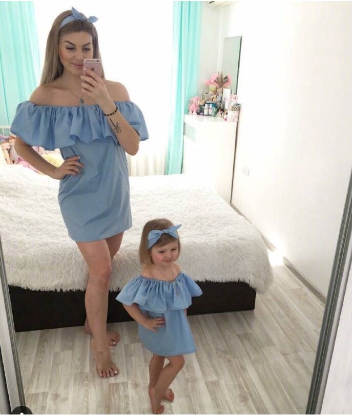 Ruffle Mother And Daughter Clothes Summer Mother Daughter Dresses Family Matching Outfits Maxi Strapless Family Look Clothing
