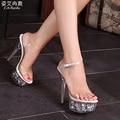 Прозрачные Розовые Туфли На Платформе Женщина Летние Сандалии Стиль Женщины Насосы Свадебные Хрустальные Женская Обувь 15 СМ Высокие Каблуки Большой Размер