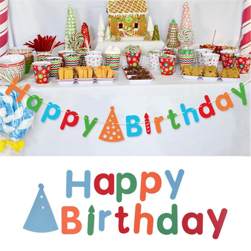 Random Color Happy Birthday Party Pennant Flags Baby Boy