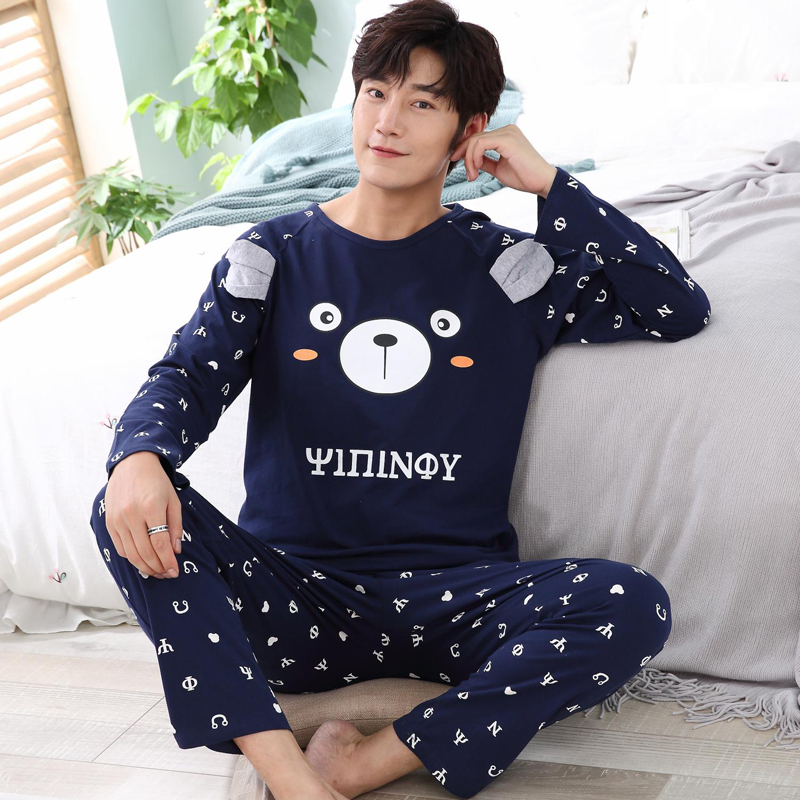 New Autumn Winter Men's Pajamas Long Sleeve Home Wear Cotton Letter Pyjamas Men Lounge Pajama Sets  Sleepwear Sets Size L-3XL