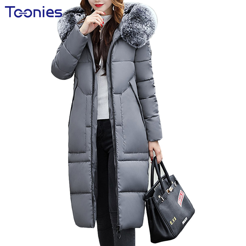 2017 New Fur Hooded Parkas Winter Straight Coat Long Parka Women Jackets Overcoat Zipper Thickening Outwear Jacket Solid Casacos new 2015 autumn winter outdoors medium long fleece jacket fur hooded army green parka men thickening coat 10