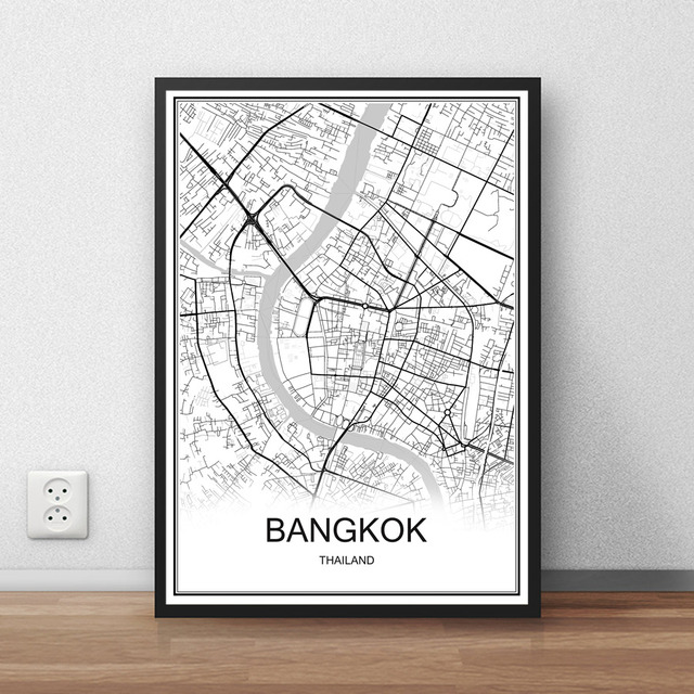 Bangkok thailand city street map print poster abstract coated paper bar cafe pub living room home