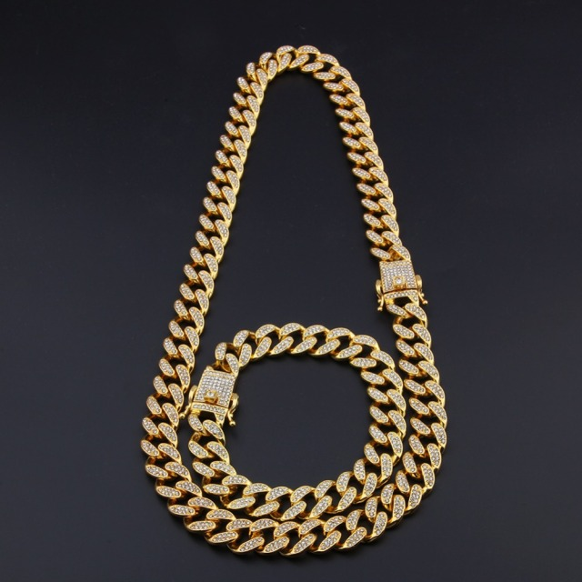 Miami Cuban Link Chain Gold Silver Necklace Bracelet 1