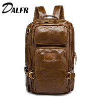 DALFR Cowhide Luggage Bags Men 18 Inch Fashion Travel Bags Genuine Leather Backpacks Mens Shoulder Bags Brand 2017