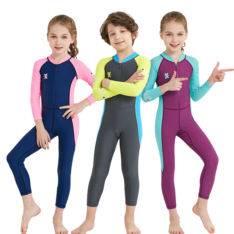 Children's Long-Sleeved One-Piece Swimsuit Girls Boys Sunscreen Quick-Drying Swimsuit Children's Jumpsuit Boys Beachwear