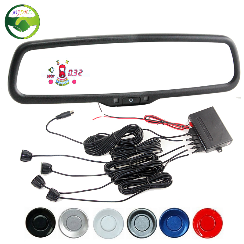 Car LED Rearview Rear View Blue Mirror Monitor With Reverse Radar Parking Sensor With Special Bracket 4 Snesors 6 Color Optional