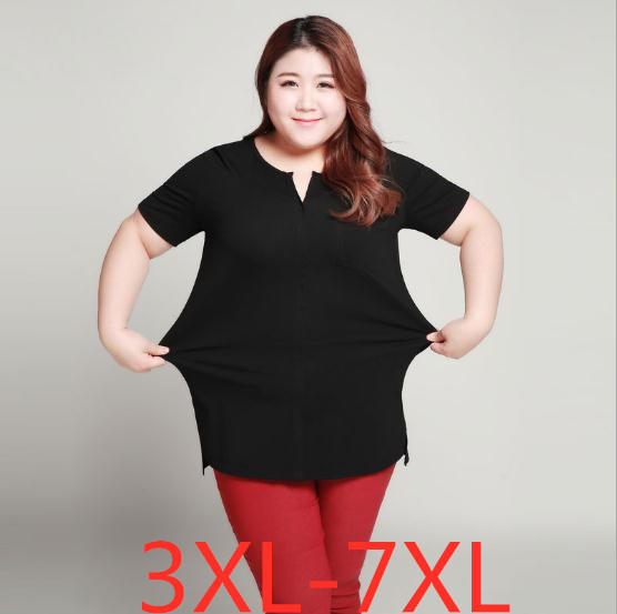 2019 été nouveau grande taille femmes lâche 100% coton à manches courtes haut t-shirt noir wowan grande taille hauts T-shirts 4XL 5XL 6XL 7XL