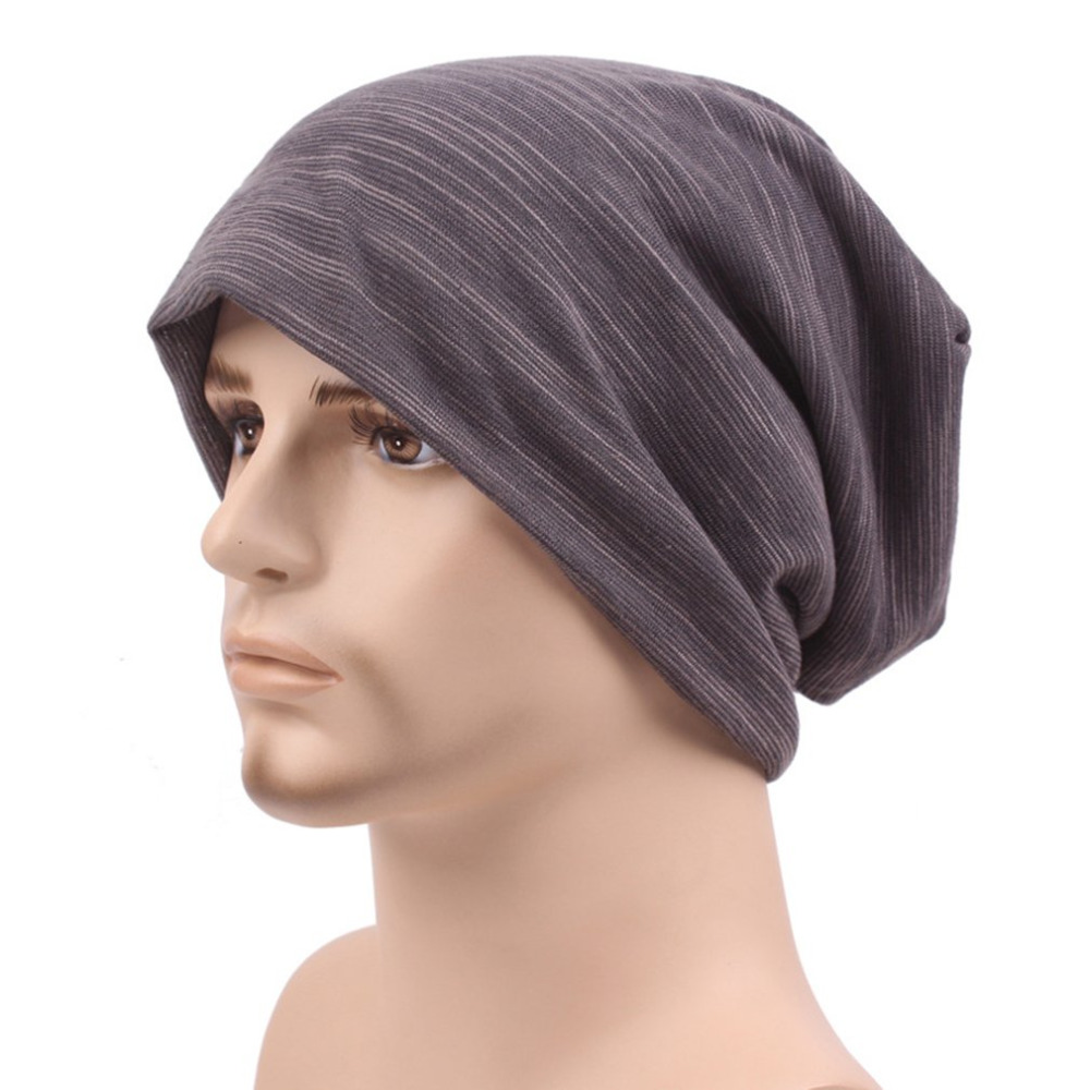 Men's Oversized Pure Cotton Beanies Cap Winter Warm Comfortable Men Ear Protect Skullies Male Solid Color Loose Windproof Hats