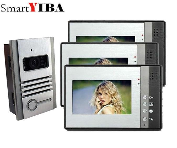 SmartYIBA Wired 3*7 Inch LCD Color Screen Monitor Video Door Phone Doorbell Home Entry Intercom System Metal outdoor camera