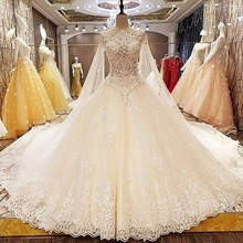 Champagne Lace Wedding Dresses Sleeveless Bridal Gowns