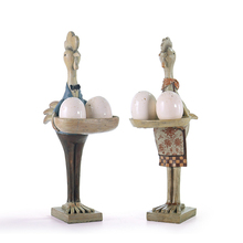 Europe Style Chicken Couple Figurines Creative Resin Crafts Ornament Miniatures Home Decor Accessories Birthday Gifts Kids Toys