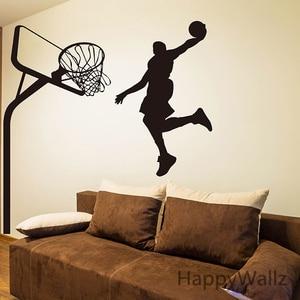 Adesivo de parede de basquete jogador de basquete decalque de parede diy esporte decalques de parede crianças decorações removível decoração s9