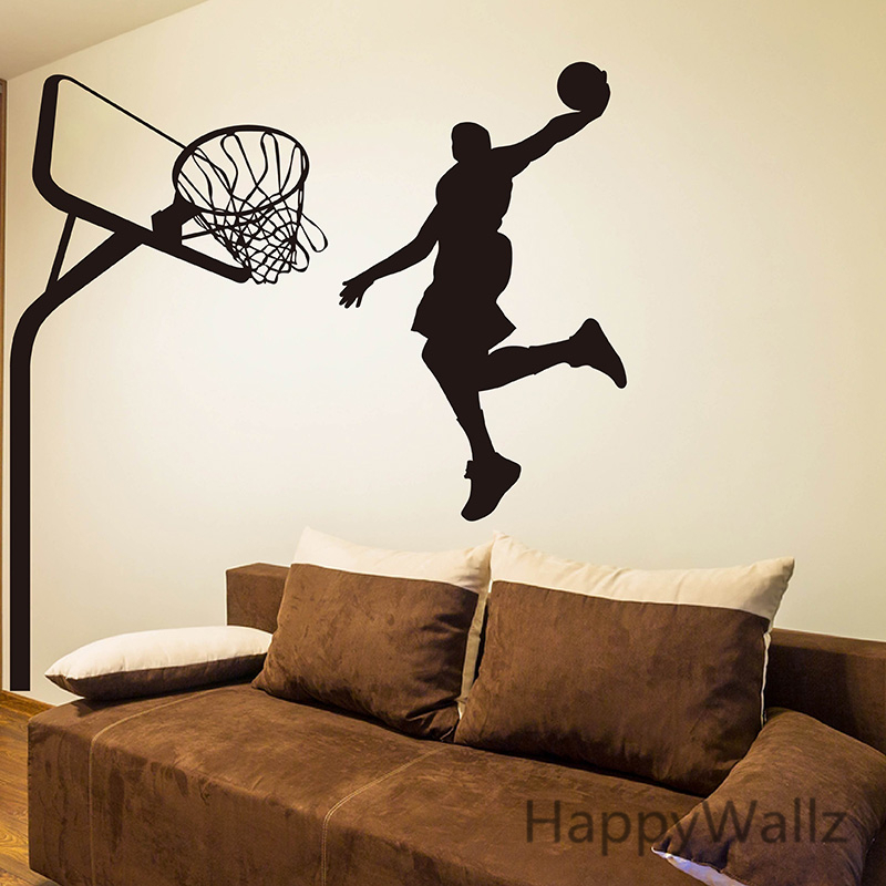 Basketball Wall Sticker Basketball Player Wall Decal DIY Sport ...