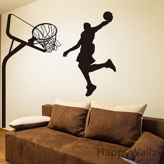 Basketball Wall Sticker Basketball Player Wall Decal DIY Sport Wall Decals  Children Decors Removable Wall Decoration