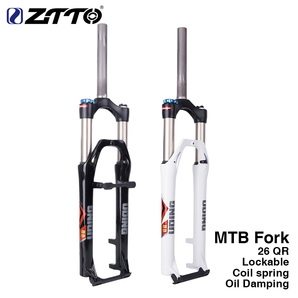UDING Lockable Straight Tube oil <font><b>Fork</b></font> Suspension 26 275 Inch 9MM QR Quick Release 100mm Travel for MTB Mountain Bike Bicycle
