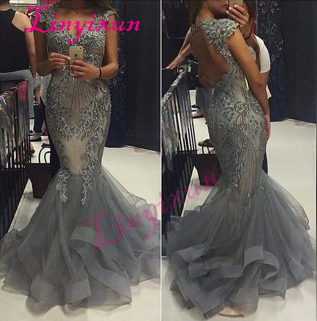 Linyixun V-neck Cap Sleeve Evening Dresses Mermaid Beaded Lace Appliques Ruched Tulle Formal Prom Dresses Floor Length Vestidos