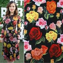 145cm rose print fabric elegant thin fashion dress scarf polyester material diyparent-child wholesale cloth