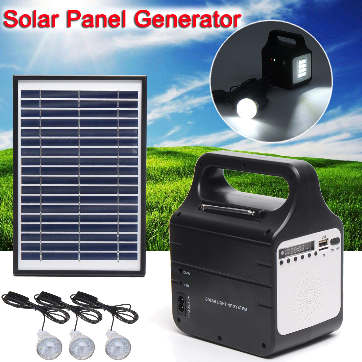 Portable Solar Panel Generator Home Outdoor Power System Energy Storage LED Light USB Charging Support USB Disk/SD Card/FM Radio