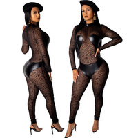 leather mesh Lace sexy transparent Long Sleeve bodysuit women rompers womens jumpsuit macacao feminino plus size body mujer 2019