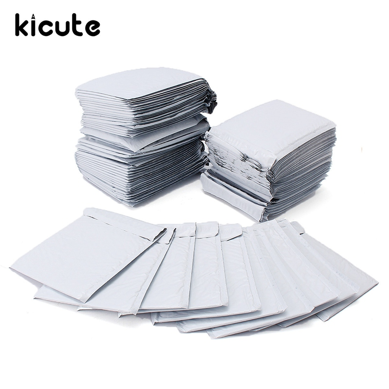 цена на Kicute 10/30/50pcs Multifunctional White Poly Bubble Mailers PE Plastic Padded Envelope Shipping Bags Mailing Bags 180x235mm