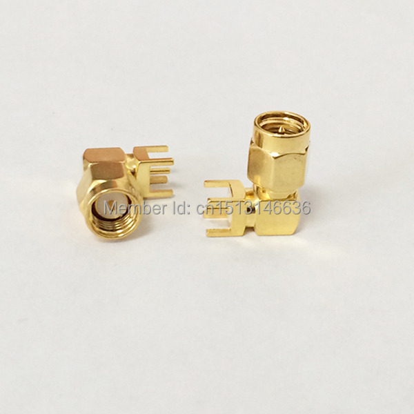 1pc SMA Connector Male Plug  RF Coax Modem Convertor PCB Mount Cable Right Angle  Goldplated  NEW