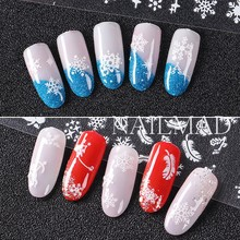 12patterns/sheet Sowflake Nail Stickers Xmas Nail Stickers Christams 3D Adhesive Sticker Decals