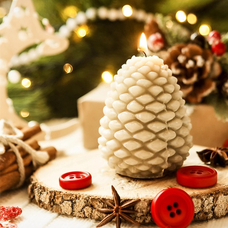 3D Christmas Pine Cone Silicone Candle Mold Aromatherapy Soap Mould For Candle Making Chocolate Cake Decoration Tools