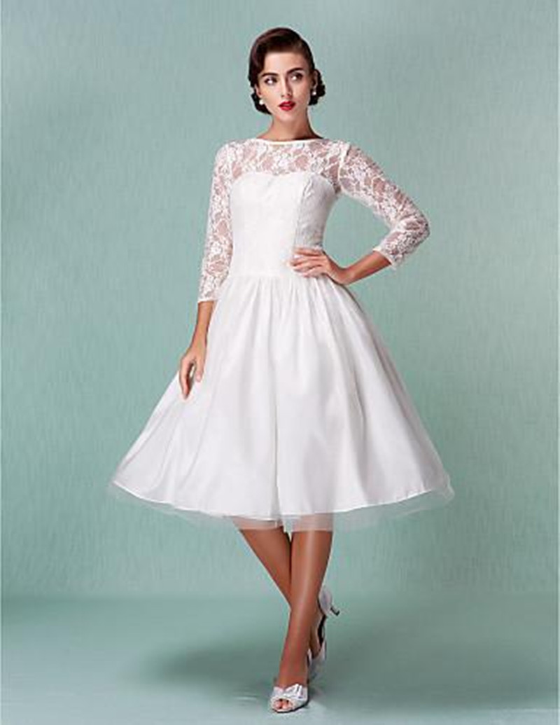 simple tea length wedding dresses with sleeves | Dress images