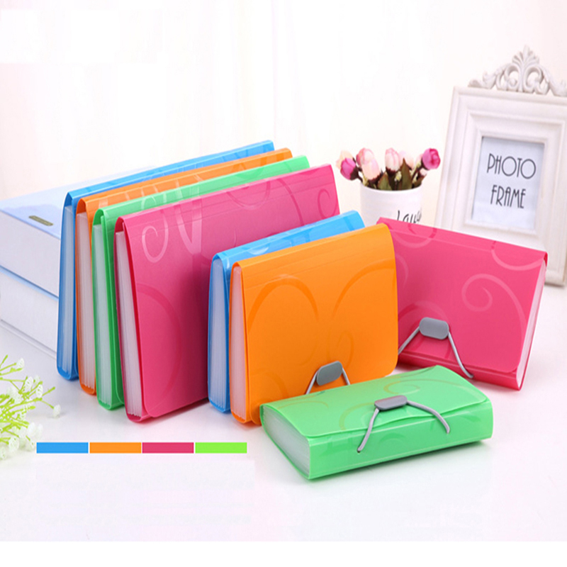 EKIND A6 Accordion Expandable Portable  Document Bag Accordion Style Plastic Candy Color Wallet 13 Pockets Portable Folder