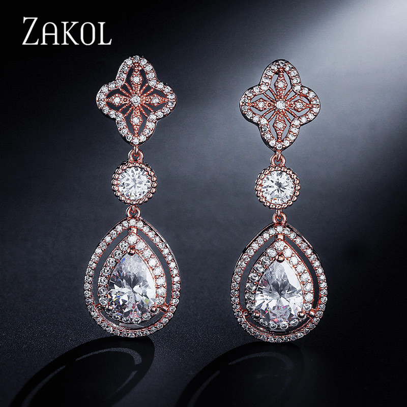 ZAKOL New Fashion Cubic Zirconia Drop Earrings Clear Water Drop Rose Design Zirconia Long Dangle Earrings For Women FSEP2043 three button design drop earrings