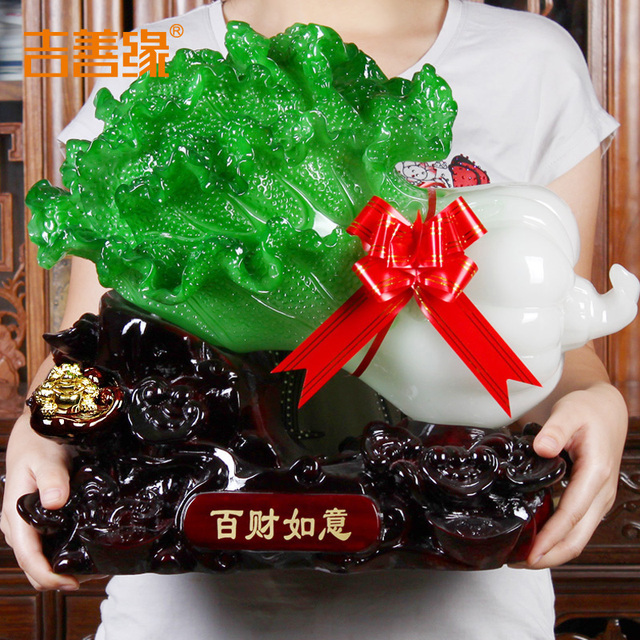 The jade cabbage ornaments Home Furnishing lucky large office room ...