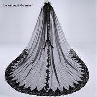 La estrella de mar bridal accessories 2019 new lace sequins diameter 300CM black Cathedral Veil long luxury voile mariage stock