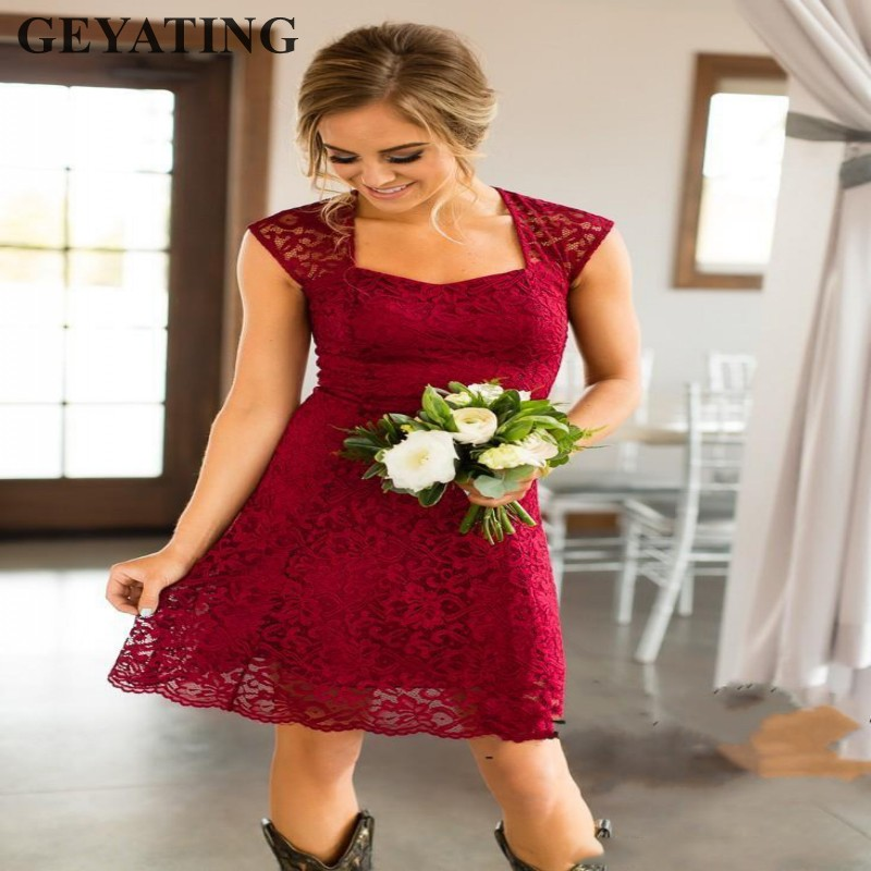 Vintage Lace Burgundy Short Bridesmaid Dresses 2019 Cheap Navy Blue Knee Length Beach Country Style Wedding Party Guest Dress