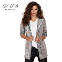 KMD KOMODA Apparel Autumn Women Blazer Pockets Casual Long Sleeve Silver Sequined Coats Street Turn Down