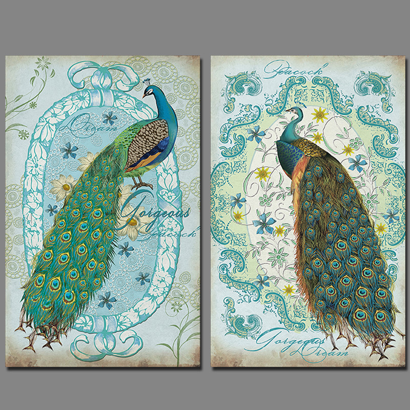 2 pcs modern animal peacock canvas painting children living room kids decoration peahen wall art for Canvas prints childrens bedrooms