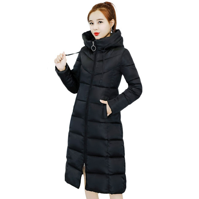 1e7b4e5a3da7 Long Winter Jacket Womens Parkas Mujer 2018 New Turtleneck Hooded Solid  Color Slim Fitted Female Thick Warm Cotton Padded Coats