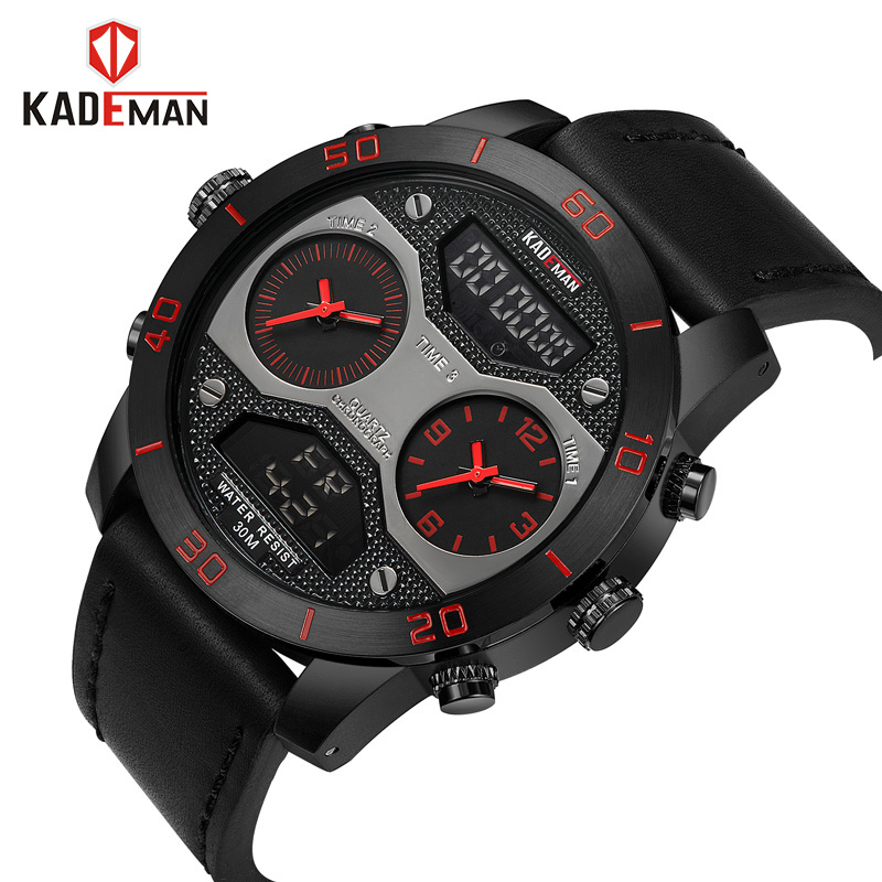 Big Men's Sports Watches Three Time Display LED Digital Quartz Watch Waterproof Dual Time Casual Clock Men Watch chronograph цена