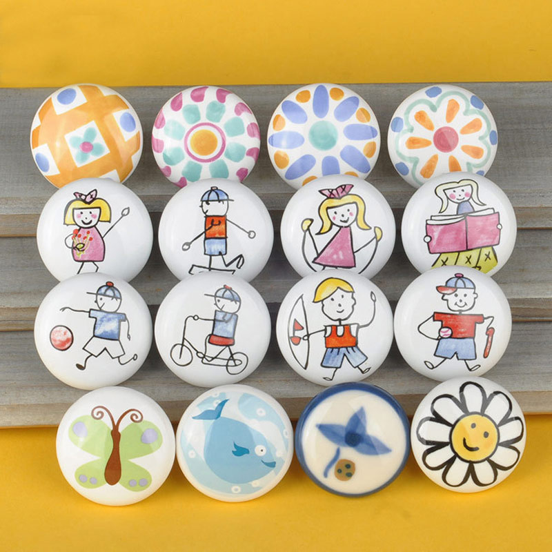 MEGAIRON Round Ceramic Knobs Children Door Handle Porcelain Cartoon Drawer Knobs Dresser Knobs Furniture Hardware
