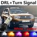 Frete grátis Para renault duster logan acessórios Daytime Running Light & Frente Sinais de Volta tudo em um Aviso lâmpada de Xenônio