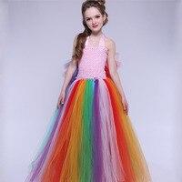 Princess Girl Party Dress Handmade Rainbow Colorful Patchwork Girls Ball Gown Tutu Evening Dress For Wedding