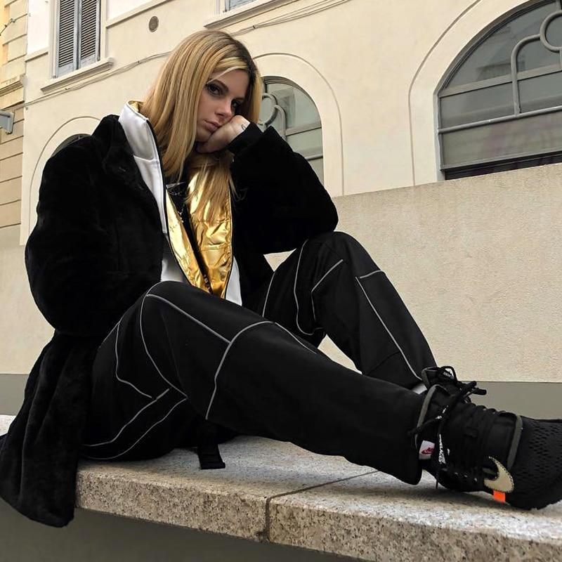Sweetown 反射ストライプパッチワークゴシックカーゴパンツ女性のストリート新到着 Nazan Deniz