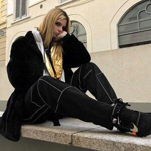 Image 2 - Sweetown רעיוני פס טלאים גותי מכנסיים מטען נשים Streetwear חדש הגעה 2019 גבוהה מותן מכנסיים עם Sashes