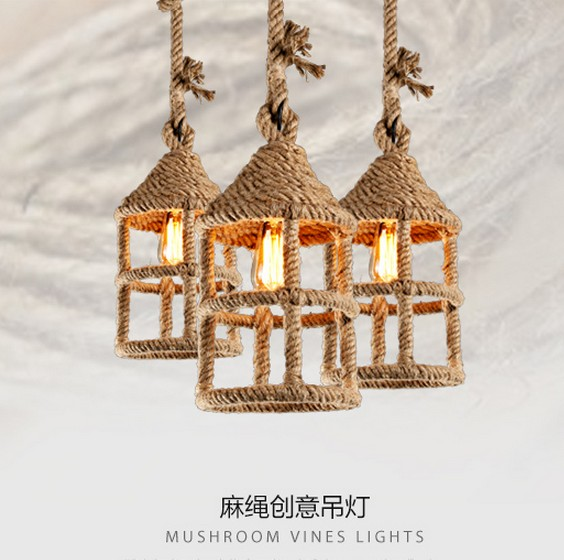 Nordic Loft Style Hemp Rope Droplight Edison Vintage Pendant Light Fixtures For Dining Room Hanging Lamp Indoor Lighting