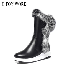 цена на E TOY WORD Winter Boots PU Leather flat rabbit fur Women snow boots Short Plush black white mid-calf women boots cotton shoes