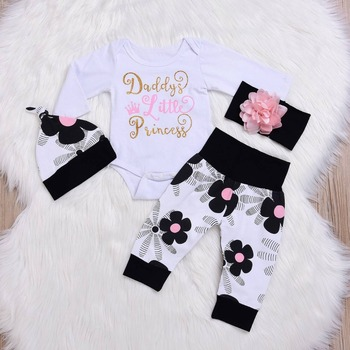 Long sleeve Newborn Clothes 4PCS Baby Girl Clothes Set Newborn Girls Sets Infant Baby Tops+Pants+hat+Headwear 2019 Fall baby set 1